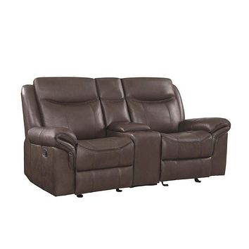 Contemporary Style Padded Plush Leatherette Glider Motion Loveseat, Dark Brown - 602332