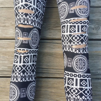Black And White Aztec / Tribal Cut Out Slash Leggings One Size Fits Most