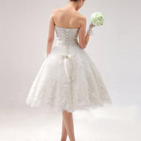Lace and satin Sweetheart New Strapless short Length Wedding Dress Bridal Gown Size