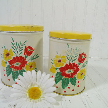 Antique Shabby Set of 2 Painted White Metal Canisters - Vintage Kitchen Tins with Lids - Well Used Coffee & Tea Containers for Cottage Decor