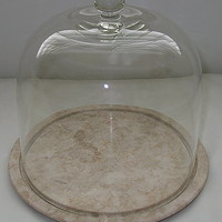 Marble Cheese Board with Fitted Glass Cloche Dome