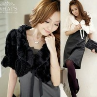 Noble Faux Fur Half Sleeve Ribbon Women Fluffy Cape Coat Bolero Shrug Outwear