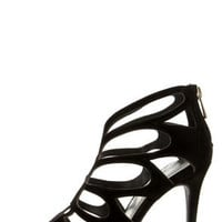 Anne Michelle Rapture 22 Black Cutout Peep Toe Heels
