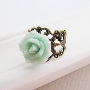 Romantic Mint Green Rose Flower Cabochon Victorian Style Ring