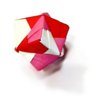 Origami Sturdy Ball: Red, White, and Pink