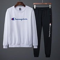 Champion Top Sweater Hoodie Pants Trousers Set Two-Piece Sportswear White