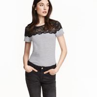 H&M Jersey Top with Lace $9.99