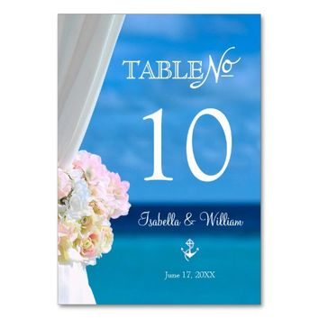 Floral Ocean Beach Summer Wedding Table Number