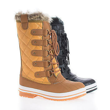 Frost03 by Nature Breeze, Quilted Mid Calf Faux Fur Lined Lace Up Winter Boots
