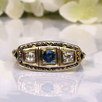 Antique Engagement Ring Art Deco Ring Sapphire Diamond Ring 14K Two Tone Gold Filigree Ring Three Stone Ring Vintage Diamond Wedding Ring!