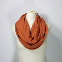 Burnt Orange Infinity Scarf - Yam Eternity Scarf - Yam - Texas Orange - Super Cozy - Cotton Scarf