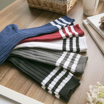 Women's 100% cotton Three Stripe Knee-High Sock