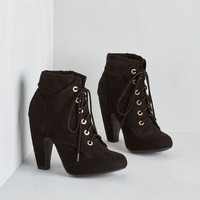 Back in the Sing of Things Bootie in Noir by ModCloth