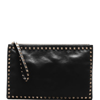 Rockstud Leather Clutch Bag, Black - Valentino