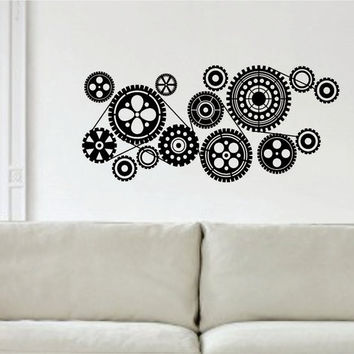 Gears Version 4 Machine Steampunk Design Decal Sticker Wall Vinyl Decor Art