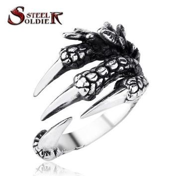 ONETOW steel soldier punk stainless steel men's Engine Skull Ring for Boy Biker Man's High Quality Jewelry