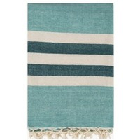 Lake Stripe Aqua Throw Blanket