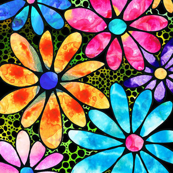 Colorful Flower Art PRINT from Painting Spring Daisy Daisies Pink Yellow Jewel Floral CANVAS Primary Colors Large Artwork Fun Whimsical Gem
