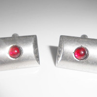 P&K Sterling Cufflinks Red Cabochon Brushed Sterling Silver 1950's Cuff Links