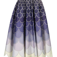 Purple Gradient Sequined Scaloped Midi Skirt