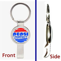 Back To The Future Pepsi Perfect Pennant Keychain silver tone secret bottle opener