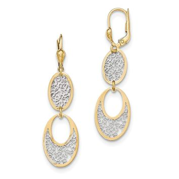 14K and Rhodium Polished Flower Cut-Out Dangle Leverback Earrings