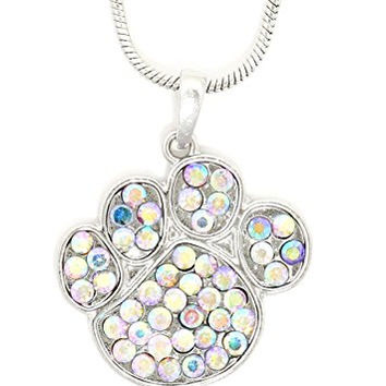 Dog Paw Print Necklace Silver Tone Aurora Borealis Crystal Pendant NR25 Fashion Jewelry