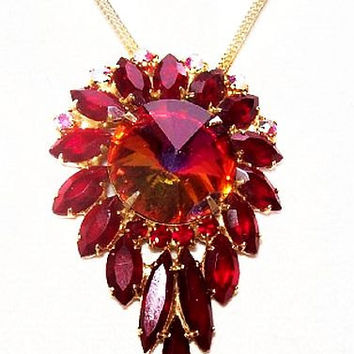 "Juliana Style Pendant Chain Necklace Red Rivoli & Marquise Rhinestones Gold Metal 17"" Vintage"