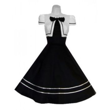 Black White Bow Long Dress