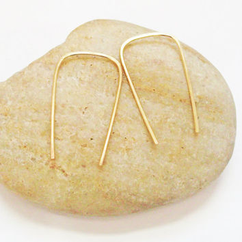 Rectangle Drop Earrings, 14K Gold Filled, Minimalist, Hand Forged