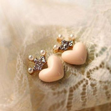 E019 New Cute Love Crystal Crown Stud Earrings Free Shipping Mellow Rose Peach Heart Earrings Simulated Pearl