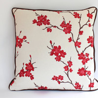 Pillow Cover with Piping, Embroidered Red and Pink Cherry Blossoms, 20x20