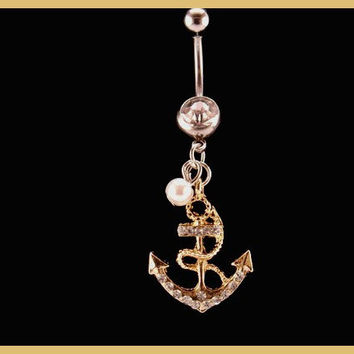 Anchor Belly Ring with White Rhinestone and Pearl by BodyDazzles