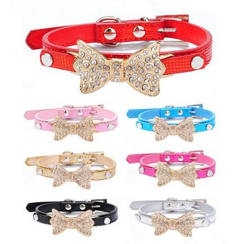 Dog Collar Bling Crystal Bow Leather Pet Collar Puppy Choker Cat Necklace small dog harness leash for dogs cats XS S M 7 colors