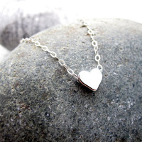 Silver Heart Necklace Sterling Silver Necklace by pearlatplay
