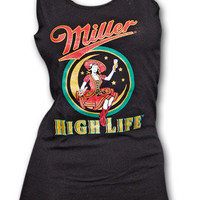 Miller High Life Girl In The Moon Black Womens Graphic Tank Top | TeesForAll.com