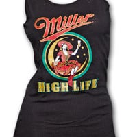 Miller High Life Girl In The Moon Black Womens Graphic Tank Top   TeesForAll.com