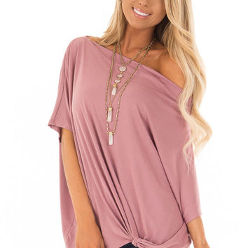 Mauve Off the Shoulder Top with Front Twist