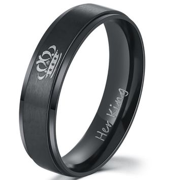 IP Black plated color 316L stainless steel HIS QUEEN and HER KING couple rings for lovers