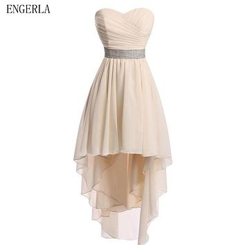 ENGERLA Chiffon High Low Bridesmaid Dresses Lace Up 2017 New Beaded Bridesmaid Gowns Short Front Long Back