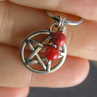 Pentacle & Red Coral Beads Captive Ring Cartilage Hoop Conch Helix Belly Button Nipple Ear Body Piercing CBR Pagan Five Point Star Wiccan