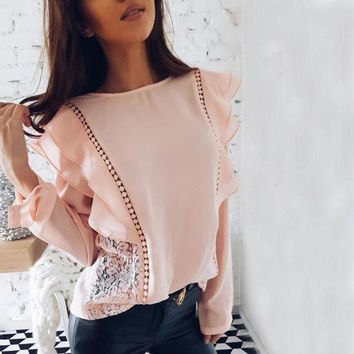 CREYLD1 New 2018 Spring Summer Lady Fashion Lace Stitched Hollow Out Chiffon Blouse Sexy Tops O-Neck Long Sleeve Ruffles Causal Shirts