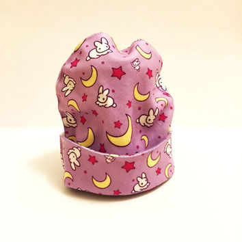 Sailor Moon Beanie - Winter Hat Slouchy Fleece - Moon Bunny Print - Usagi Bedsheets - Princess Serena -  Tumblr