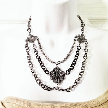Collared necklace and earring set gray medieval statement necklace