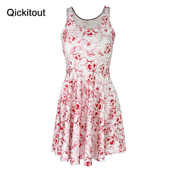Fashion Sexy dress Pink Skull Hot Women Dress Digital Print Pink Skull Dresses Sleeveless Hot Beach DRESS Drop Ship