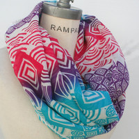 Tribal Infinity Scarf Women Scarves Multicolor Scarf Popular Items - by PiYOYO