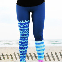 LEGGING - 'WAVE Rider' Style Legging for SURF,  Yoga, Running, Biking