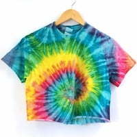 Bright Rainbow Tie-Dye Cropped Tee