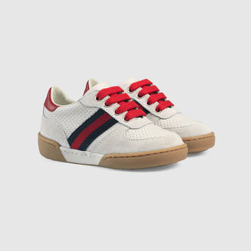 Gucci Toddler suede sneaker with Web
