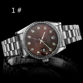 Rolex new fashion men and women quartz trendy diamond round edge watch Silver+coffee